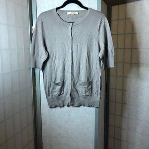Loft short sleeved cardigan in tan w/patch pockets